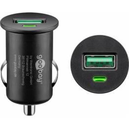 Goobay Biloplader med USB og USB-c op til 18W