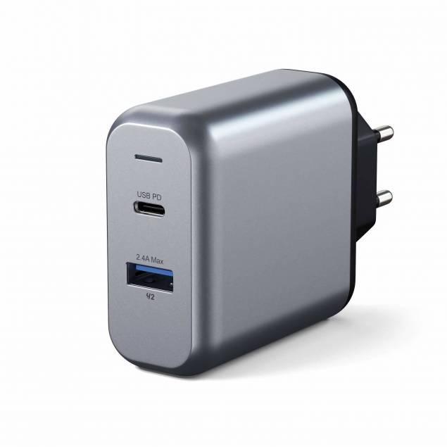 Satechi 30W USB-C PD & USB-A Vægoplader, Space Grey
