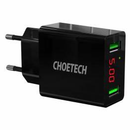 Choetech 15W 2-port LED Vægoplader
