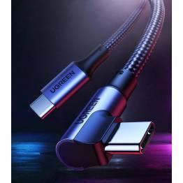 USB-C kabel med knæk 1m - 100W PD - sort vævet