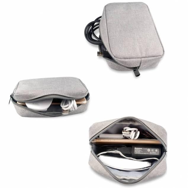 Lille taske til kabler og opladere - grå