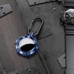 AirTag holder i ekstra beskyttende silikone med karabin - Blå