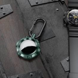 AirTag holder i ekstra beskyttende silikone med karabin - Grøn