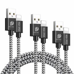 DUX DUCIS Hårdført Lightning Nylon kabel 3-pack - 0,25m, 1m og 2m
