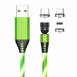 Lysende magnetisk multi opladerkabel Lightning, MicroUSB, USB-C - Grøn