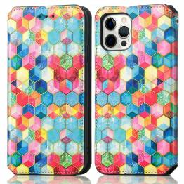 """iPhone 13 mini 5,4"""" cover med RFID kortpladser og klap - Mosaik"""