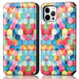 """iPhone 13 6,1"""" cover med RFID kortpladser og klap - Mosaik"""