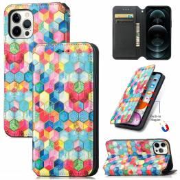 """iPhone 13 Pro 6,1"""" cover med RFID kortpladser og klap - Mosaik"""