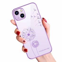 """iPhone 13 cover 6,1"""" gennemsigtigt med bling og blomster - Lilla"""