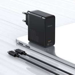 Baseus 100W GaN2 QC5 USB-C PD oplader - Sort
