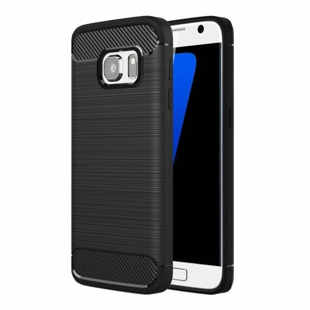 Samsung Galaxy S7 cover, børstet sort - Dette cover til Samsung Galaxy S7 er ret fedt. Der er et kraftige af slagsen, som er lavet af det her smarte TPU-gummi. Det er solidt og man får et helt nyt og cool look på sin smartphone. TPU-gummi er en effektiv kombination af 3 vigtige ingredienser til