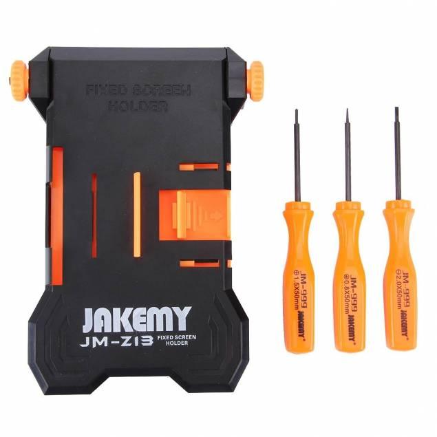 iPhone skærm reparations holder hjælper Jakemy - Dette er det perfekte værktøj til at åbne og løfte skærmen af din iPhone, den virker med alle iPhones og kommer med de 3 skruetrækkere du skal bruge til det, du sætter din iPhone fast i holderen, skruer de nederste skruer løs også bruger du holderen til a