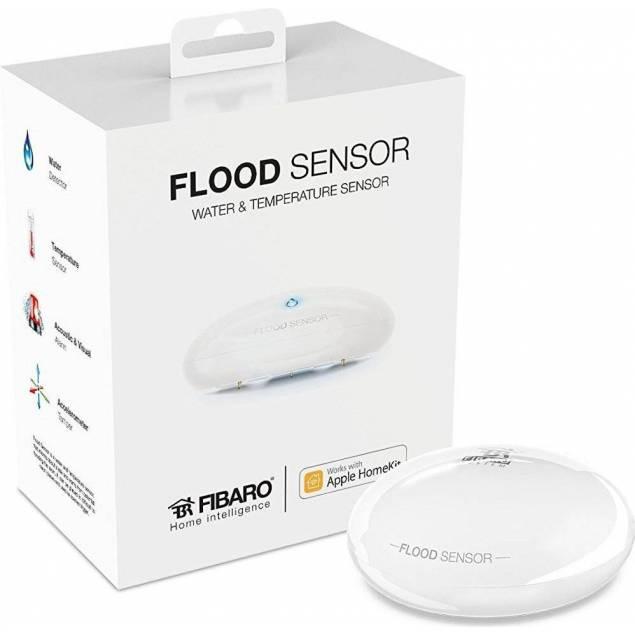 Fibaro Trådløs vandsensor med Apple Homekit - Fibaro Trådløs vandsensor sætter du på jorden/gulvet eller hvor end du skalk bruge den også sætter du den op på din iPhone eller iPad, her kan du lave regler for den så den kan sættes til at blinke med dine lamper, sende beskeder eller noget helt andet. D