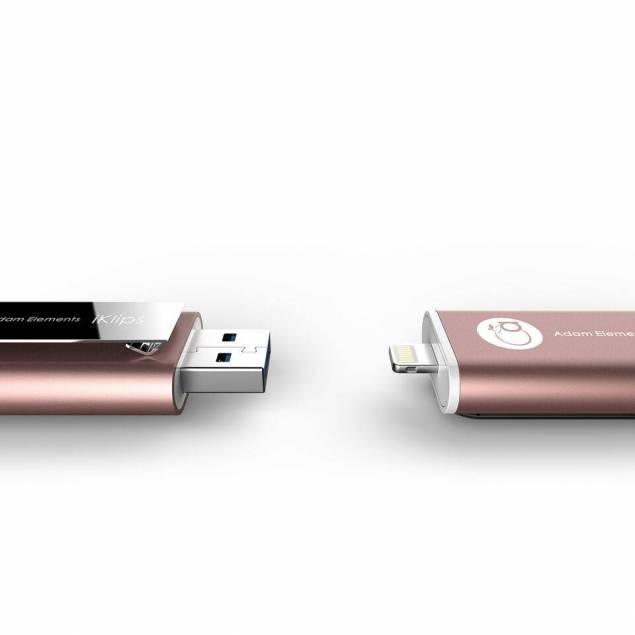 Adam Elements iKlips USB stik med lightning og USB 16gb - Adam Elements er kendt for at lave highend tilbehør, det er denne også, så den kommer med en meget hurtig USB hukommelse, der virker både med USB 3.0 og lightning, den er dog langsommere i lightning stikket pga den begrænsede hastighed. USB/lightning stik