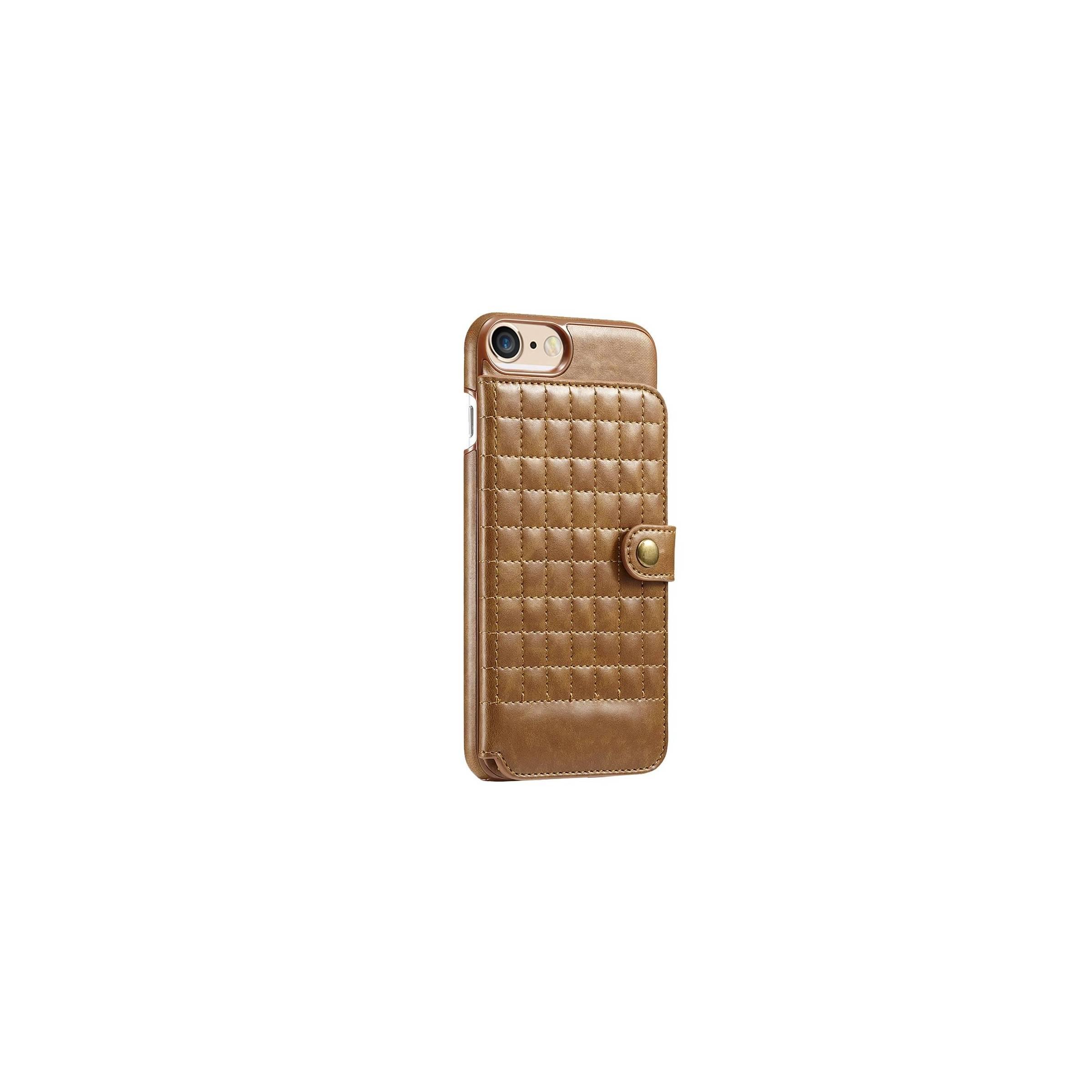 Læder cover m. kortplads til iphone i farver farve brun, iphone iphone 7 plus & 8 plus fra kina oem på mackabler.dk