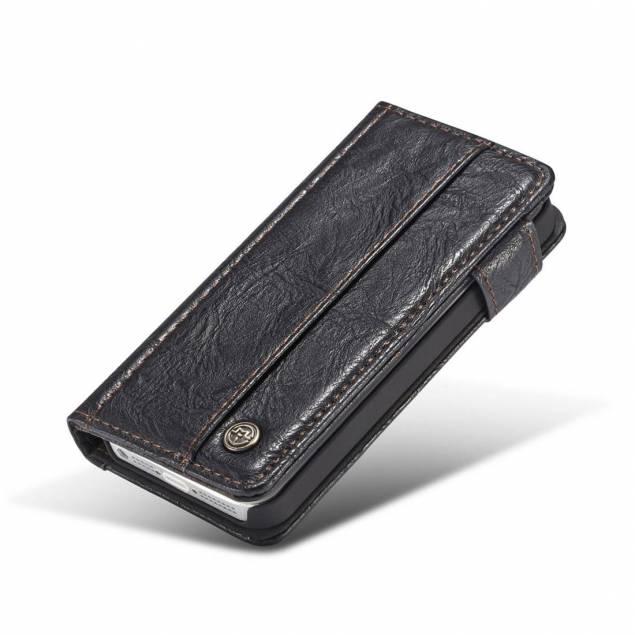 Billede af Fedt iPhone læder pung-cover sort/brun t. iPhone 5, 5s og se