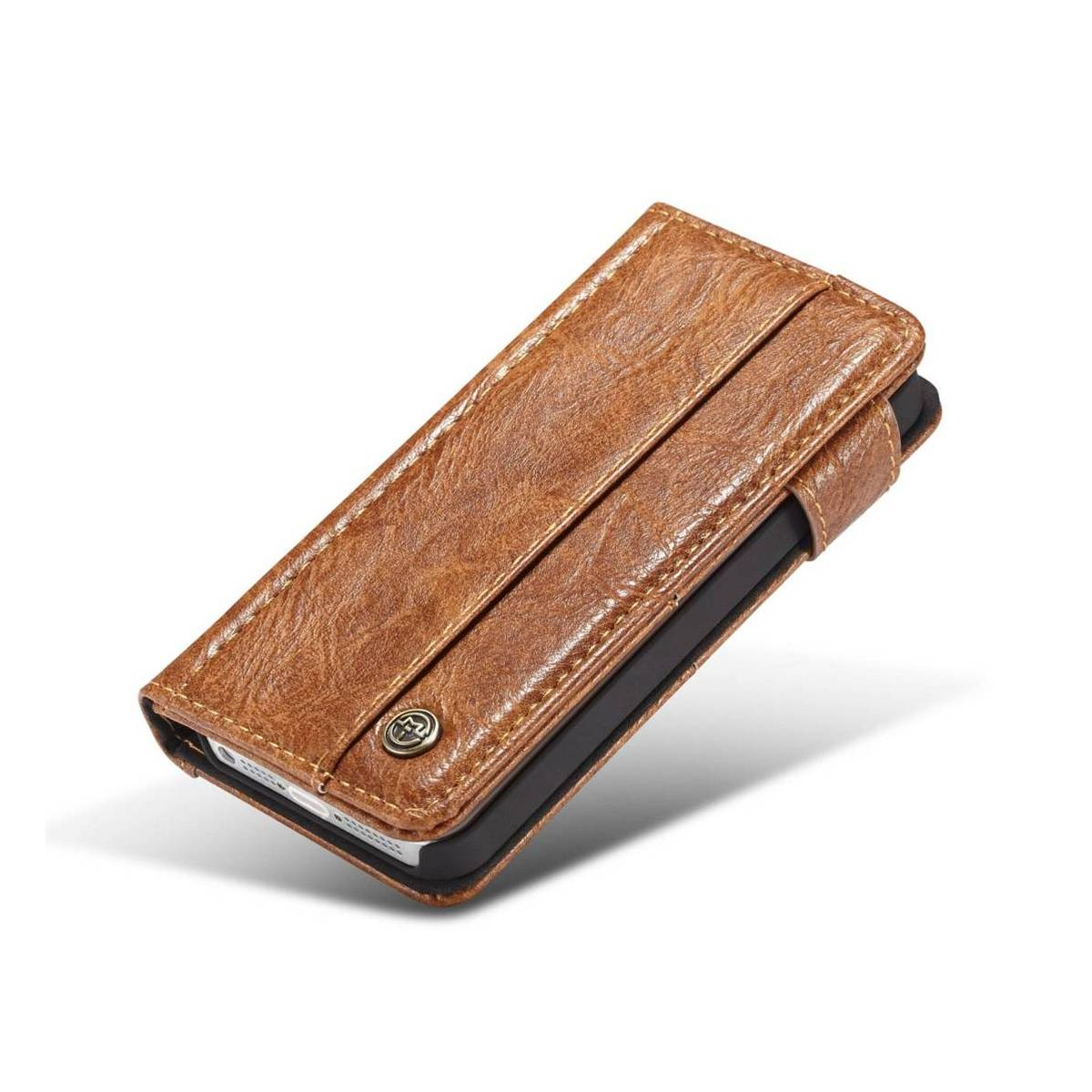 035a6da5a9e Fedt iPhone læder pung-cover sort/brun t. iPhone 5, 5s og se ...