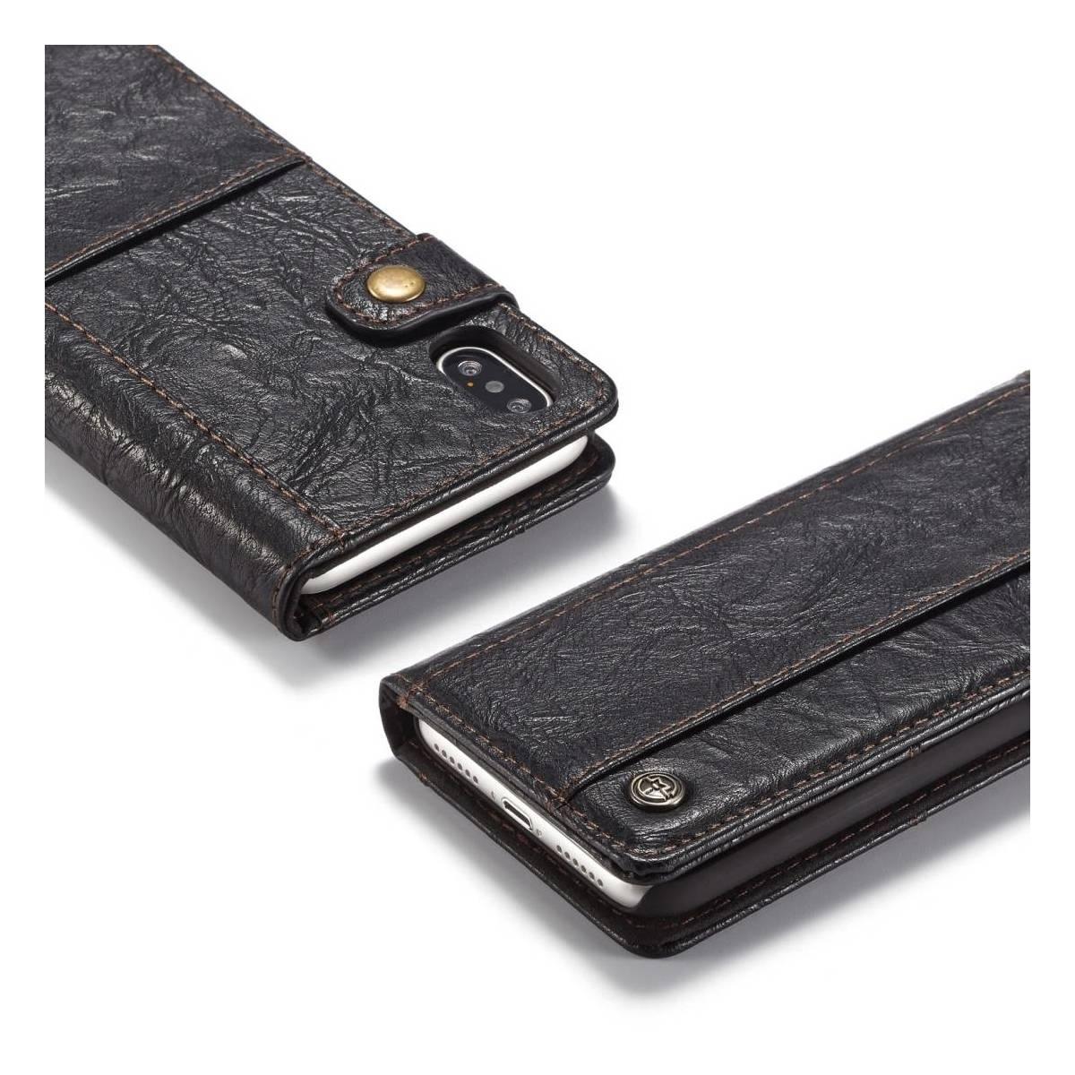 4e1edeafc72 Fedt iPhone læder pung-cover sort/brun t. iPhone X/Xs - MacKabler.dk