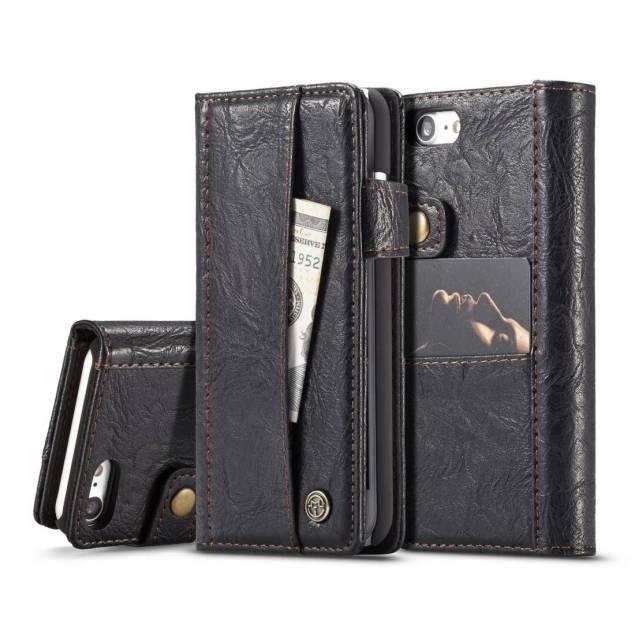 Fedt iPhone læder pung-cover sort/brun t. iPhone 7 og 8