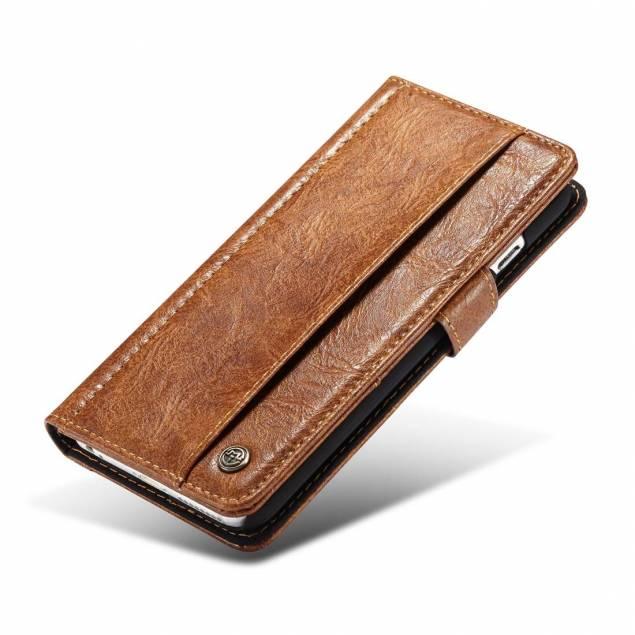 Fedt iPhone læder pung-cover sort/brun t. iPhone 6 og 6s
