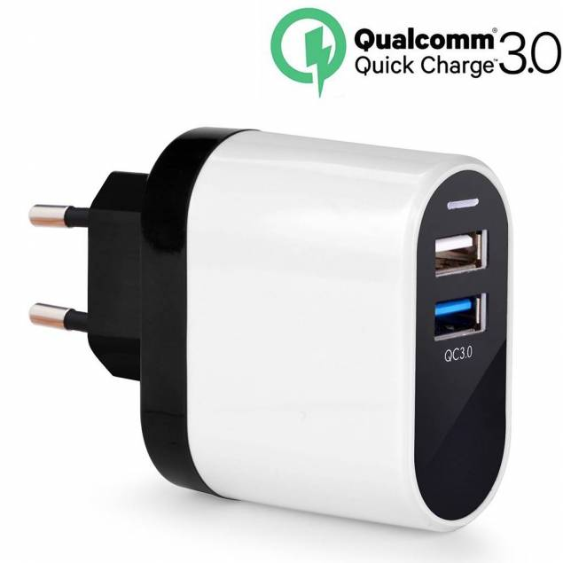 Avantree QC 3.0 dual 2xUSB oplader 23W - Avantree QC 3.0 USB oplader med 2 porte. Quick Charge porten leverer hurtig opladning til kompatible Android enheder og er endvidere kompatibel med ældre versioner af Quick Charge teknologien. Standard USB porten kan oplade alle ikke QC enheder med op til