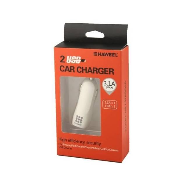 HAWEEL dobbelt USB biloplader med kabel - Længde - 1 meter - Haweel bil oplader med 2x USB stik og et kabel med i 5 forskellige farver. Bil opladeren passer til alle 12V eller 24V bil stik og kan give op til 10w til hvert USB stik.