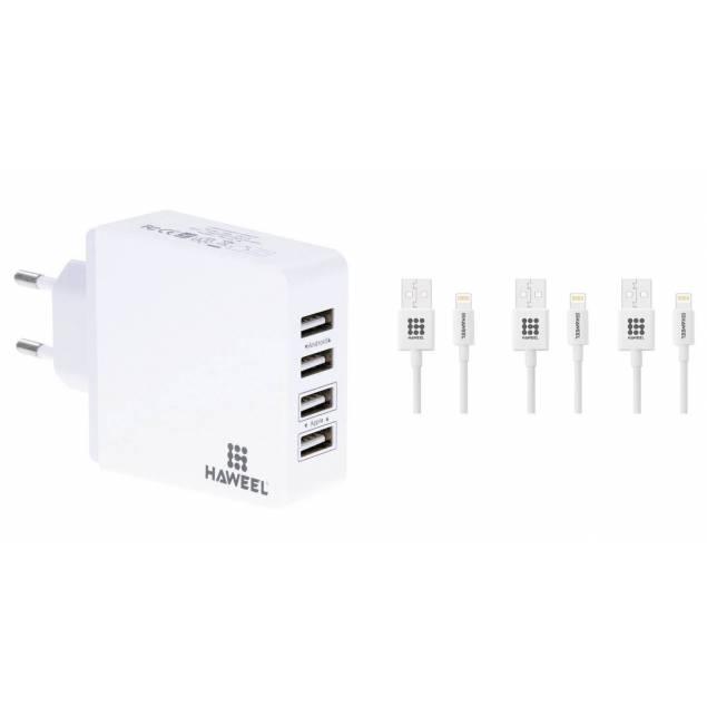 USB Oplader med 4x USB + 3 MFi kabler