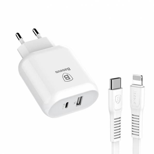 Image of   Baseus Bojure 32W USB-C oplader +USB-C til Lightning kabel