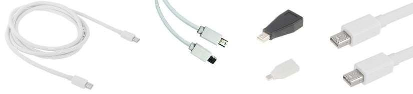Mini displayport (Thunderbolt) til Mini Displayport adaptere og kabler