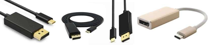 Thunderbolt 3 (USB-C) til Displayport adaptere og kabler