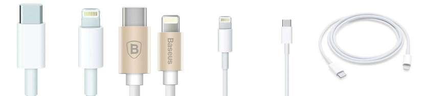 USB-C (thunderbolt 3) til Lightning adaptere og kabler