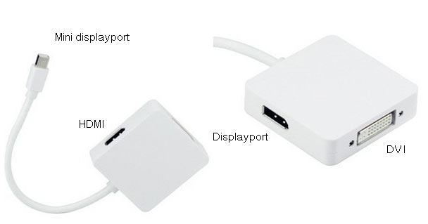 Mini Displayport til DVI-d, hdmi og Displayport