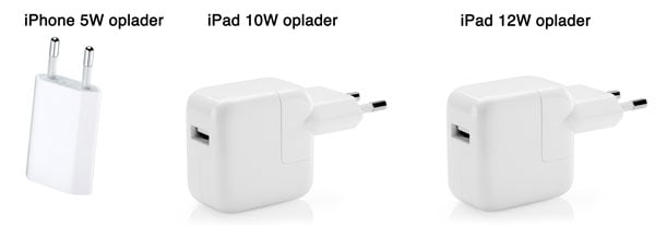 iPhone 5w iPad 10W og iPad 12W oplader