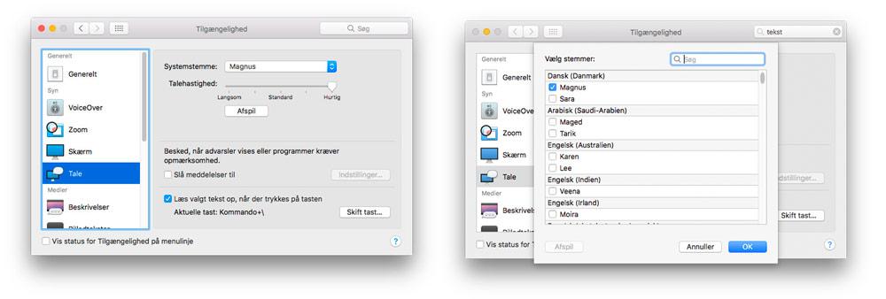 Oplæsning af tekst på Mac/iPhone/iPad