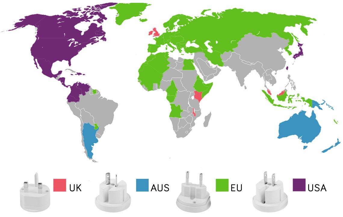Lande kort over hvilken type strøm stik landet bruger.